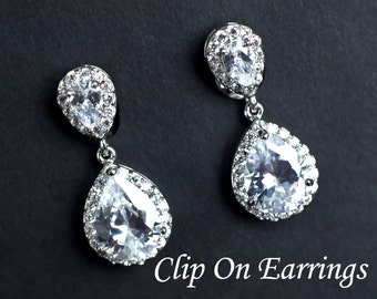 CLIP ON Bridal Earrings, Clip On Cubic Zirconia Earrings, Cubic Zircconia Clip On Teardrop Earrings, Bridal Earrings, Bridesmaids Earrings