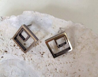 Double square post earrings, Minimalist gold posts,geometric gold studs