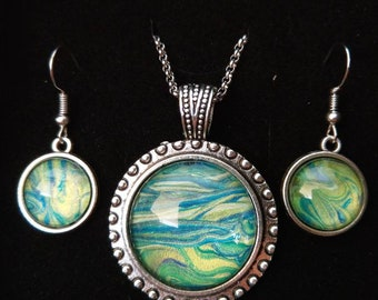 Hand made Earrings and necklace set Modern miniature paintings enclosed in glass dome One off jewellery