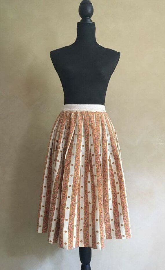 Vintage 50's Pleated Lace Trim Summer Skirt