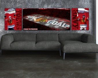 Chicago Blackhawks Stanley Cup Championship Set with Toews & Kane Canvas Set, Chicago Art, Large Wall Art from the Studio of Holy Cow Canvas