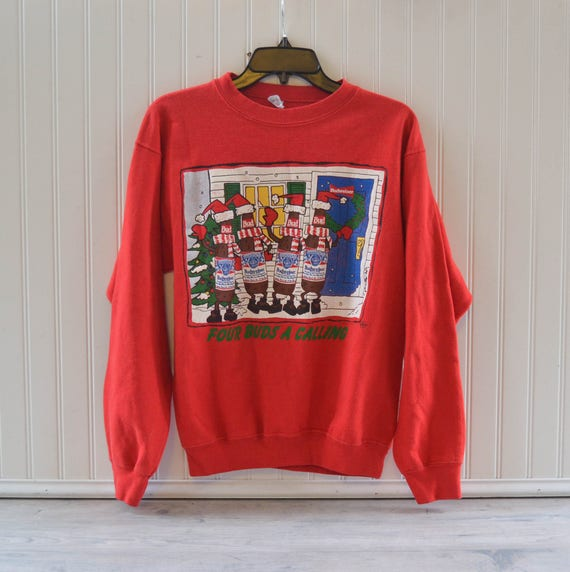 vintage budweiser christmas sweater red bud beer red