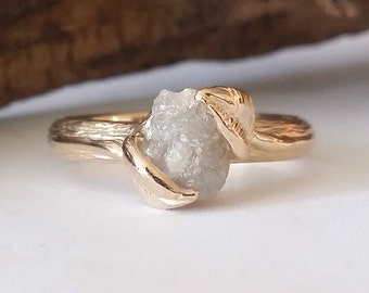 Twig Engagement Ring, Raw Uncut Rough Diamond Wedding Ring, Made to Order Leaf Forever Ring or Promise Ring in Gold by Dawn Vertrees