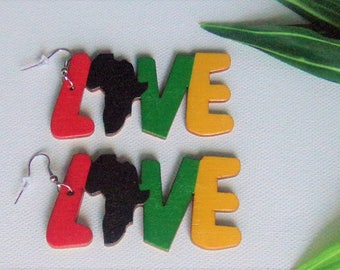 LOVE Africa Wood Earrings Africa Continent Earrings Africa Shape Wooden Earrings Natural Stained Wood RPG Red Yellow Green Black