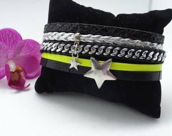 Black and neon yellow Cuff Bracelet