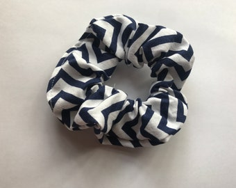 Blue and White Striped Scrunchie
