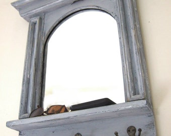 The Arch Mirror with Shelf & Hooks  - French Architectural Design Mirror in Blue - Grey