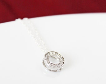 Crystal Setting Circle Pendant, Sterling Silver Chain, Small and Dainty, Simple Everyday Jewelry