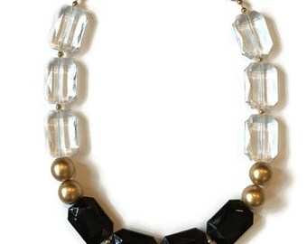 Statement Necklace - Black Crystal Gold Necklace - Gold Statement Necklace - Black Statement