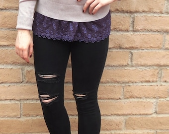 Shirt extender - Purple lace shirt extender.