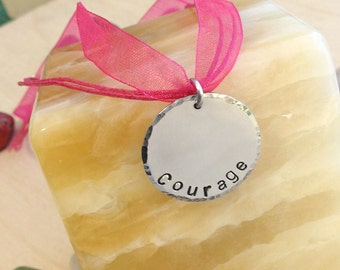 Hand Stamped Necklace - Breast Cancer Necklace - Personalized Stamped Necklace - Courage - Silk Ribbon Necklace