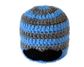 Mustache Beanie, Newborn Boy Crochet Hat, Crochet Mustache Hat, Toddler Boys Knit Hat, Mens Hipster Beanie, Infant Boy Photo Prop, Teen Boys