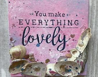 Positive quote painting, square canvas, seashell art, mixed media painting, splatter detail, original acrylic, handmade art, home decor