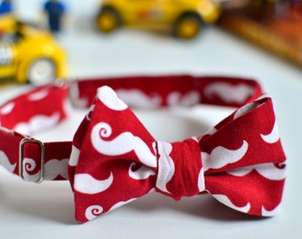 Christmas bow tie, Cotton festive bow tie, Red bow tie for boys, Moustache bow tie, Adjustable bow tie, Toddler bow tie, Winter bow tie,