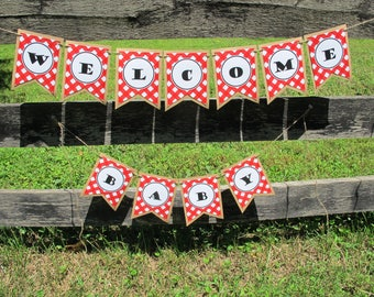 Customizable Red Gingham Banner for Parties and Showers INSTANT DIGITAL DOWNLOAD pennant garland bunting