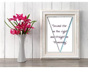 Gift Idea, Printable Digital Download, Peter Pan Quote, Nursery Art