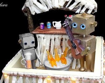 Robot Tiki Bar Recycled Sculpture, Miniature Diorama, Mixed Media Art, Found Object Art, Assemblage Steampunk Art, Geekery