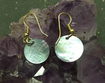 Abalone Disk Earrings
