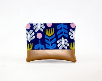 MIDI bag - copper tendrils, bag, cosmetic bag, purse, make-up bag, vegan, minimalist, pouch, pencil case,