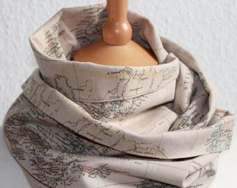 Unisex Loop/ Schal/ Weltkarte/ beige/ grau - The world is mine