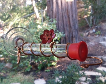 Enamel & Copper Window Hummingbird Feeder - Custom Colors Available