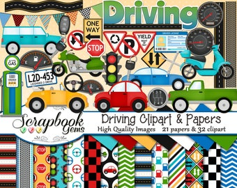 DRIVING Clipart and Papers Kit, 32 png Clip Arts, 21 jpeg Papers Instant Download car truck auto motorcycle motor scooter moped road street
