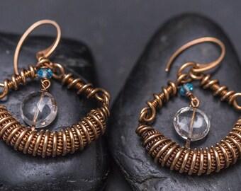 Bronze Wire Wrap Earring