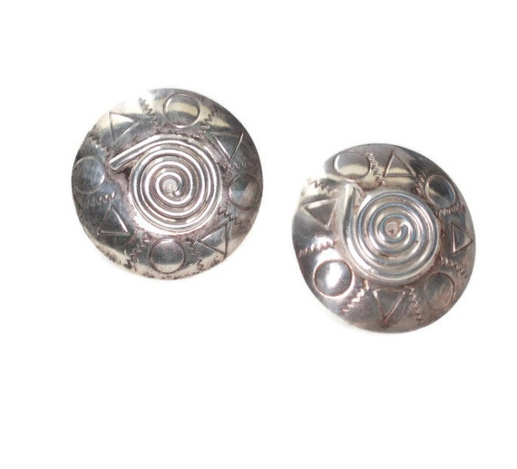 Sterling Modernist Earrings Barbara Sucherman Studio Artisan Pierced Earrings Posts