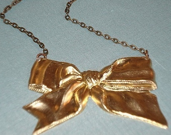 Gold Bow Necklace Brass Bow pendant Jewelry French Vintage Golden Brass Bow