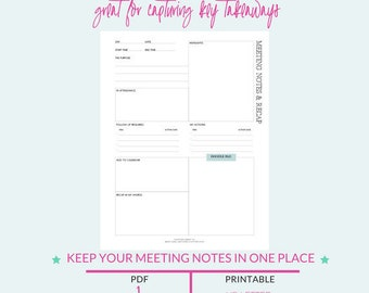 Meeting Notes, Notes Planner Insert, Digital Note Pad, Notepaper, Planner Page Notes, Meeting Agenda, Meeting Minutes, Notes Printable Page