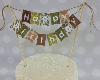 "Cake Bunting, ""Wild Animal"" Happy Birthday, Cake Topper, Paper banner"