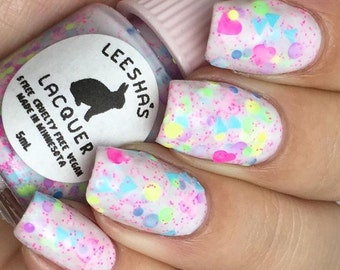 Crelly Neon Glitter Nail polish, Dia de Los Muertos, Day of the Dead - Calavera de Azucar - Full Size or Mini Nail Polish