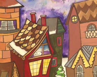 The Old Village - Inspired by the West Canfield Historic District in Detroit - Original Painting