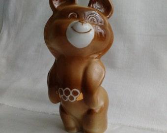 Vintage porcelain figurine Olympic bear figurine USSR vintage Soviet porcelain statue Porcelain doll Vintage souvenir Soviet figurine 80s