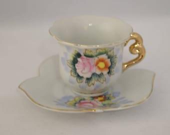 Antique Demitasse cup saucer small Floral Design Gold Accents Scalloped Saucer Leaf Design Tea Cup Japanese Elbro