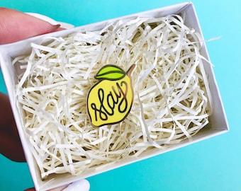 "Lemon ""Slay"" Beyonce-inspired hard enamel lapel pin-hat pin-brooch"