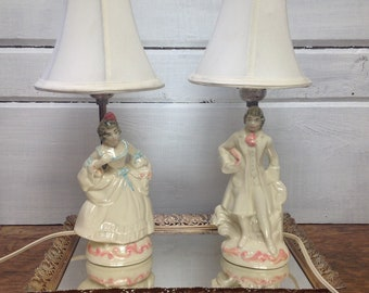 Pair of Boudoir Lamps - Man and Woman Victorian with shades