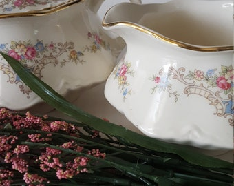 Vintage Mismatched Homer Laughlin Creamer and Sugar bowl, Pink Floral Pattern, Mismatched Dishes, Shabby Chic, Tea Party, Wedding, Luncheon,