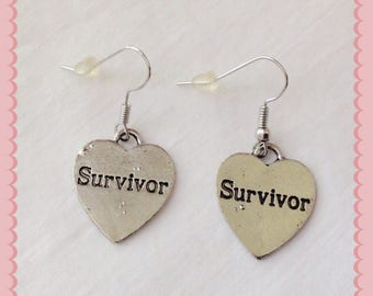 1 Pair of Heart Shaped Survivor Cancer Awareness Earrings ~ Quick Ship ~ Great Gift