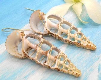 Shell Earrings, Gold Wire Wrapped Shell Earrings, Beach Jewelry, Sea Shell Earrings, Beach Wedding, Long Earrings