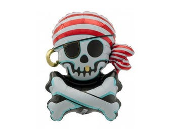 Pirate Skull Balloon - Jolly Roger, Pirate Party, Party Decorations, Photo Prop, Birthday Party, Photo Prop