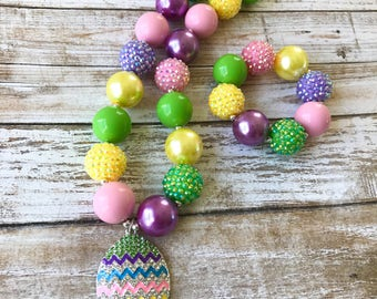 Easter Egg Necklace, Kids Easter Bubblegum Necklace, Baby Girl Easter Jewelry, Girls Easter Spring Jewelry, Easter Chunky Necklace