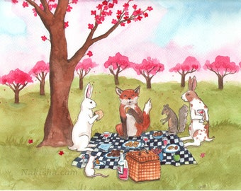Spring Picnic - Fine Art Print featuring Rabbits, Squirrel, Red Fox, and Mouse.