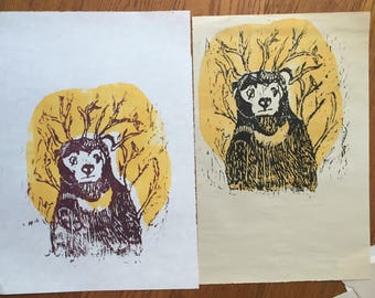 Sun Bear woodcut proofs