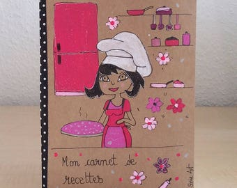 Book of recipes - notebook handpainted - illustrated recipe book