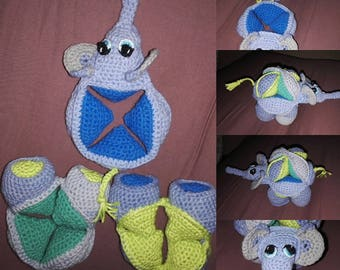 Elephant crocheted puzzle toy