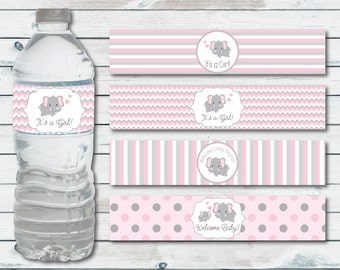 Water Bottle Labels Elephant Baby Shower, Printable Water Bottle Label In Pink And Gray Chevron Elephant, Elephant Baby Shower Decor