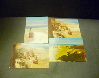 4 Masada, Israel postcards- actual photos- Masada cableway & view w/ Dead Sea
