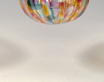 Hand Blown Glass Ornament:  Citrus Mix Sphere With Vertical Ribs