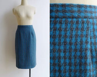 Vintage 80's Houndstooth Plaid Blue Checkered Pencil Skirt S